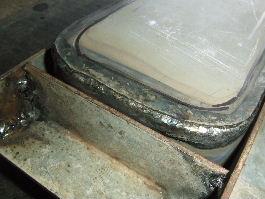 突合せのガス溶接をした溶接痕の写真