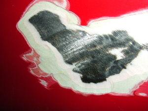 リアフェンダーの塗膜点検、すこし剥離