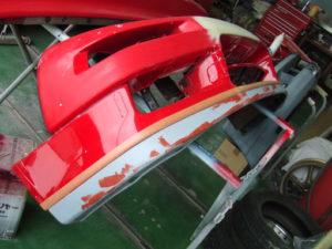 NSX バンパー修理 リップスポイラーパテ